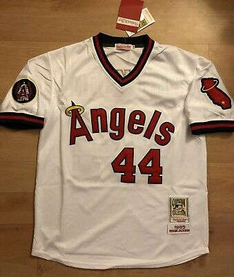 a3aeb5b2 California Angels Jersey #44 Reggie Jackson Felt Stitched White Throwback  1985 M
