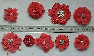 DARK CORAL Fabric Flowers SINGLE approx 50-100mm Across - 9 Style Choice CI