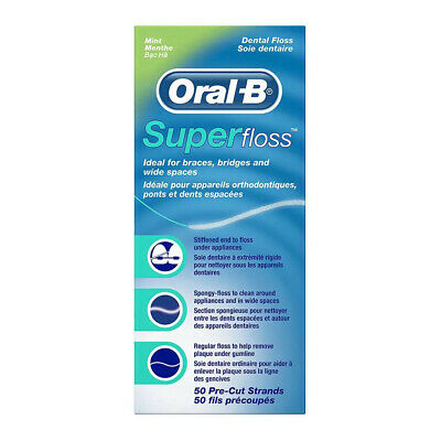 5 x Oral-B Super Floss,Dental Floss Original Mint 50 pcs