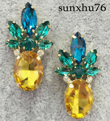 Crystal Ear Drop Dangle Stud Ancient Gold long Tassels Pineapple Earrings