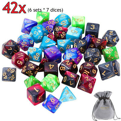 6set 42pcs Polyhedral Dice DND RPG Game Poker Card Dungeons Dragons Part & Bag