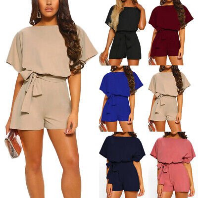 Womens Short Sleeve Jumpsuit Shorts Romper Ladies Holiday Casual Mini Playsuits