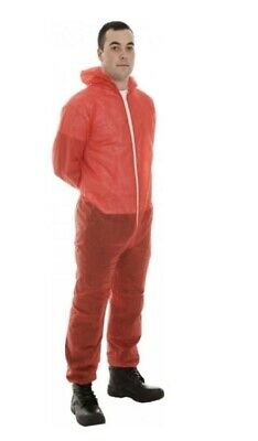 Supertouch 17401 PP Non-Woven Disposable Coverall Red Small, Box 50