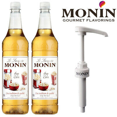 Monin Popcorn Coffee & Cocktail Syrup 1 Litre Bottle With Pump Option