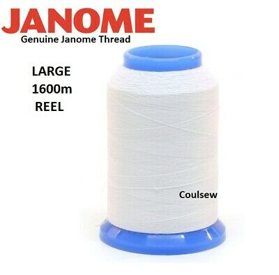 JANOME Sewing Machine WHITE EMBROIDERY BOBBIN THREAD 1600m - LARGE REEL