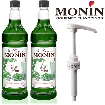 Monin Green Mint Coffee & Cocktail Syrup 1 Litre Bottle With Pump Option