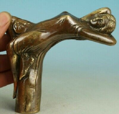 Chinese Old Bronze Handmade Carved belle Collect Statue Walking
