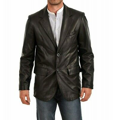 Men/'s Genuine Sheep Leather Soft Smooth Coat Blazer Jacket Two Buttons Slim Fit