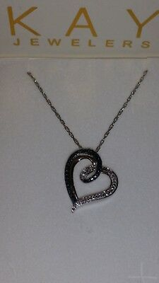 71ee0cc5c *SEXY* KAY Jewelers Sterling Silver Heart Shaped Blue & White Diamond  Necklace