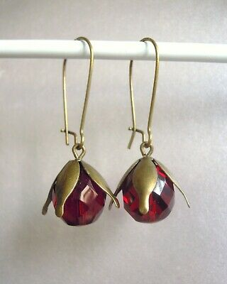 VINTAGE ART DECO 1930s FACETED RUBY RED GLASS BEAD LONG SNOWDROP FLOWER EARRINGS