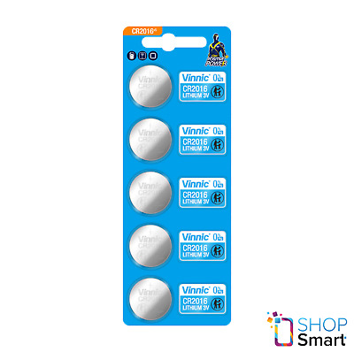 5 Vinnic Cr2016 Lithium Batteries 3V Cell Coin Button Exp 2023 New
