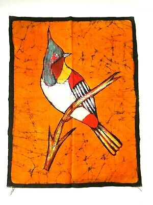 "Batik Fabric Cloth Pc With Jay Bird 18"" L x 14"" W Unmarked Unsigned Bright Color"