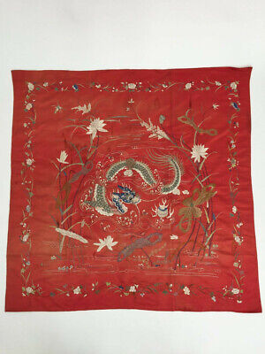 Antique Chinese silk embroidered wall hanging textile panel vintage