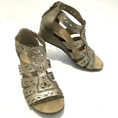 cd9c46b4c4 Earth Origins Ruby Gladiator Sandals Gold Leather Wedge Shoes Cutouts 9 Zip  Back