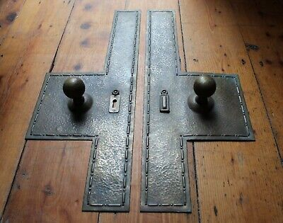 Pair of Antique Brass Door Knob Handles with Back Finger Plates Vintage Salvaged