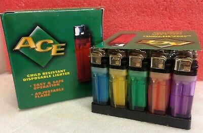~Box of 50~ ACE Disposable Clear Lighters Counter Display Child Resistant  *Re20