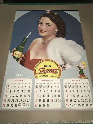 Vintage New Old Stock Unused Complete 1951 Squirt Soda Calendar See Model Photos