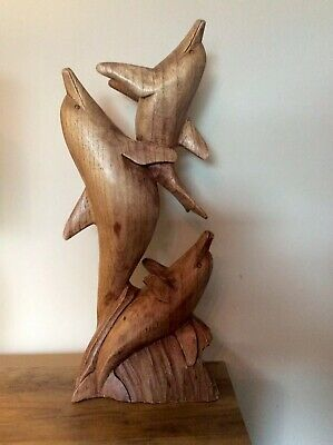 """20"""" 50cm Large Hand Carved Wooden Dolphins Family Quality Carving Art"""