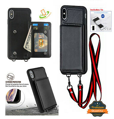 iPhone XS Max XR 8 7 PLUS Leather Wallet Card Case with Lanyard Neck Strap Cover