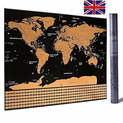 Scratch Off Map World Extra Large Size Wall Art US States Country Flag 82 x 59cm