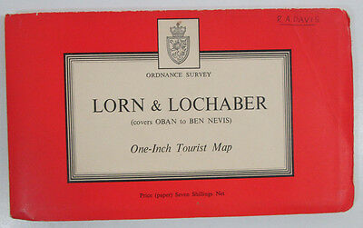 1960 Old Vintage OS Ordnance Survey One-Inch Tourist CLOTH Map Lorn & Lochaber