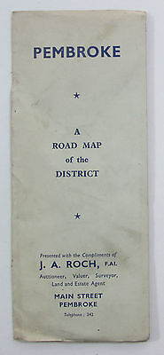Approx 1950 old vintage Road Map of Pembroke and District