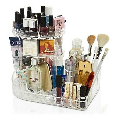 DecoExpress Large Rotating Clear Acrylic Makeup Cosmetic and Jewellery Organiser