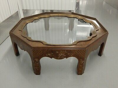 Baker Collectors Edition Octagon Coffee Table Inlaid Wood Brass & Glass Tray Top