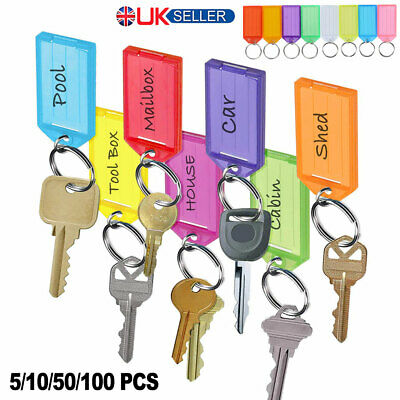 50/100 Large Key Fobs Different Coloured Ring Tabs Name Card Id Tag Marker Label