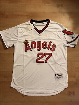 save off 2b1e5 3f236 NEW LA ANGELS Mike Trout jersey throw back edition L Sz 44 ...