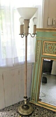 """Vintage Art Deco Torchiere Floor Lamp 3 Way Light and White Optic Shade 60"""" h"""