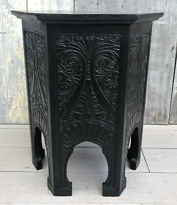 Antique Arts & Crafts Hexagonal Carved Ebonized Oak Side Table Taboret c. 1910