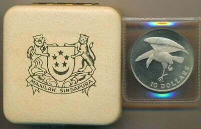 1973 Singapore Mint Proof Silver $10-In Box! Beautiful Silver Coin-Free S/H!