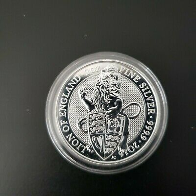 Silver Two Ounce Coin 2106 Queen's Beasts The Lion Great Britain BU in Capsule