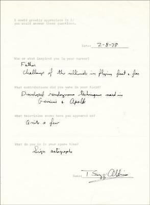 Buzz Aldrin - Questionnaire Signed 02/08/1978