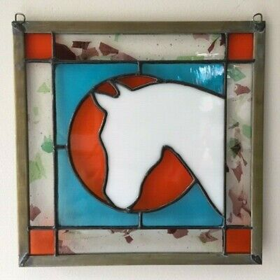 Horse Stained GlassWindow Hanging Art Hand Made Orange Turquoise Real Glass