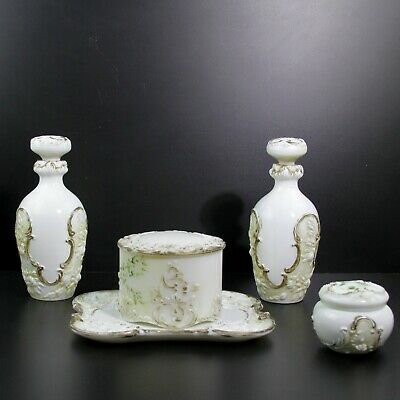 Antique Northwood Victorian Painted Milk Glass Dresser Barber Bottle Set Of 5