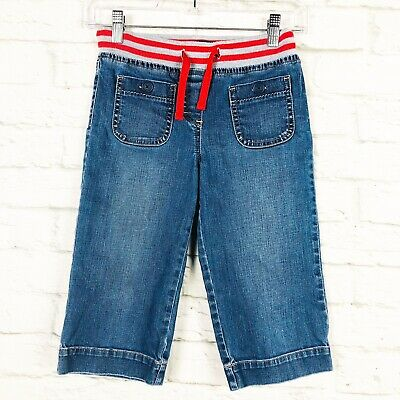 Mini Boden Girls 9Y Pull On Jeans Capri Pants Cropped Patch Pocket Red Stripe