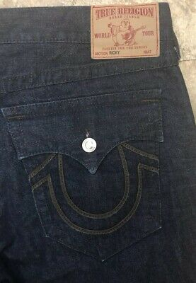 bf1feaaf1 TRUE RELIGION BILLY Giant Big T Men s Jeans Size 40 X 34 Distressed ...