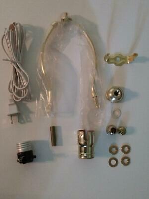 "Table Lamp Wiring Kit With 8"" Brass Plated Harp, 3 Way Socket,8 ft. White Cord"