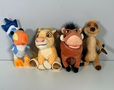 The Lion King Soft Toy Plush Beanie Set Simba Pumba Timon Zazu
