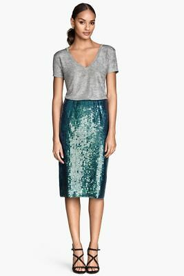 cb3b8d217f H&M Teal Mermaid Fish Scale Sequined Straight Pencil Skirt Blogger Fave Size  10