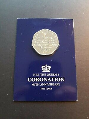 2018 Isle of Man 65th Anniversary of the Queens Coronation 50p Coin UNC SEALED