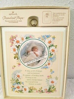 Vintage New Hallmark Baby Personalized Wood Plaque With Photo Insert