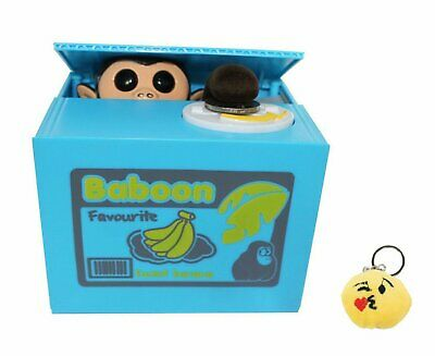 Funny Monkey Stealing Coin to Banana Money Bank and one adorable emoji Keychain