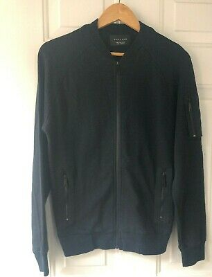 7243e6fc Zara Man Jacket Bomber Cardigan Ribbed Black Blue Zip Up 100% Cotton Small