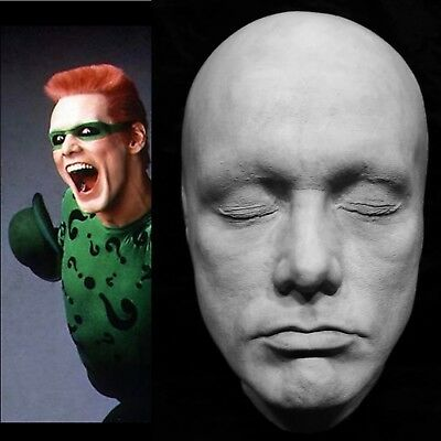 "Jim Carrey Life Mask Cast ""The Mask""Ace Ventura"" Batman""The Riddler""Truman Show"""