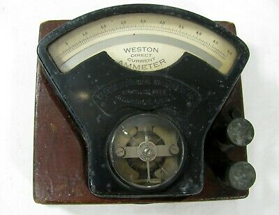 Vintage Weston Electrical Instruments Direct Current Ammeter Model 1 Newark NJ