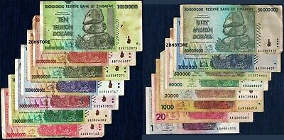 10 Trillion Zimbabwe Dollars AA 2008 - 15 Banknotes Set w/ 20 Billion 50 Million