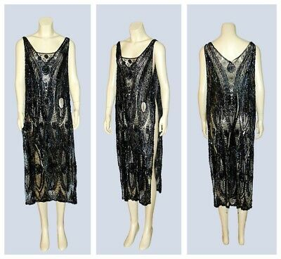 Antique VTG 1920's Sheer Silk Net Lace Sequin Beaded FLAPPER Tabard Dress Museum